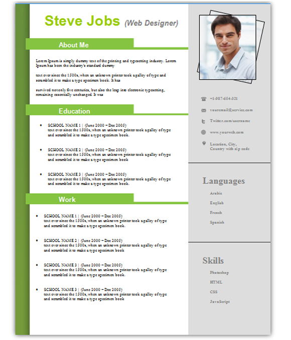 curriculum vitae template free download word