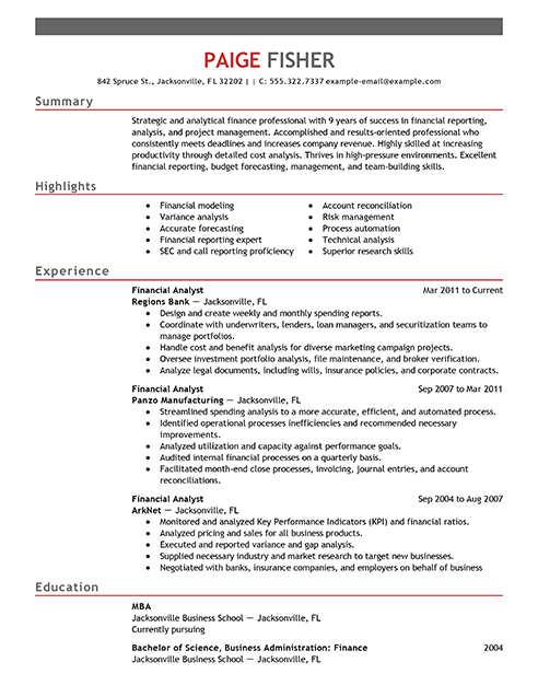 resume sample for financial analyst