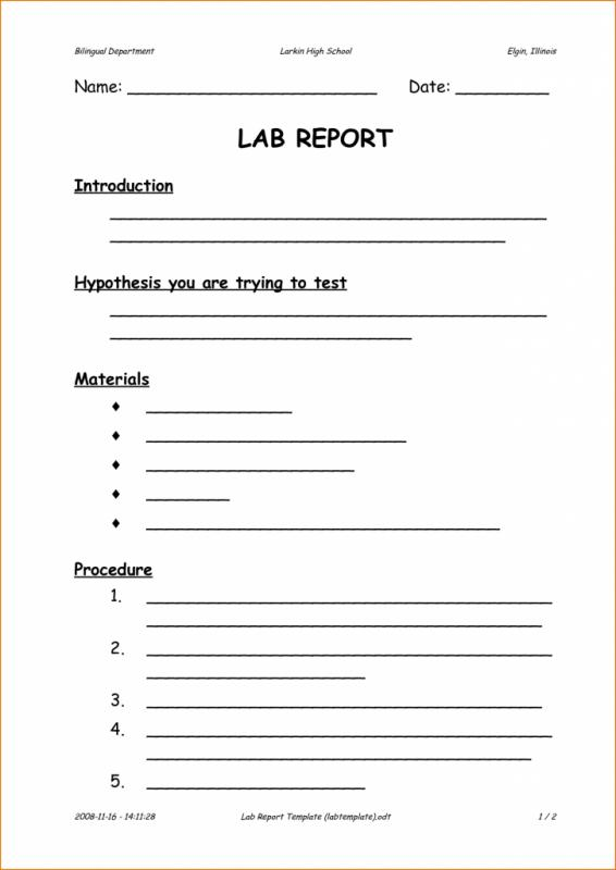 formal lab write up template