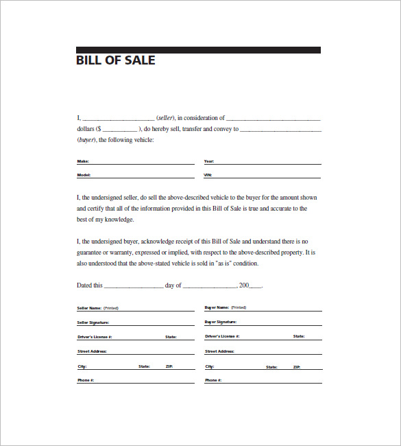 Business bill of sale template trattorialeondoro motor vehicle bill of sale template wajeb Images