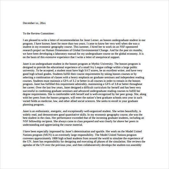 Professional reference letter sample graduate school sample professional letter of recommendation for graduate spiritdancerdesigns Image collections