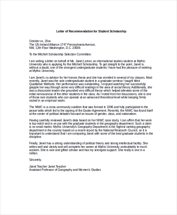 Professional Reference Letter Academic