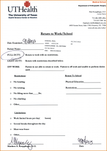 doctor's note to return to work doctors note template doctors note