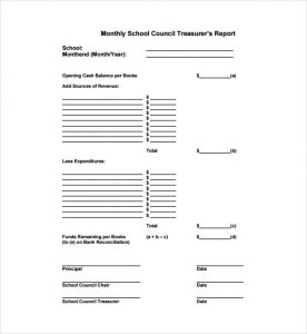 treasurer's report template monthly school council treasurers report