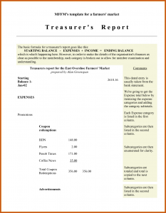 treasurer's report template treasurer report template sample treasurers report for non profit