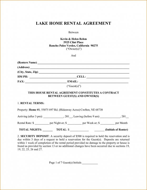 Page Rental Agreement  Template Business