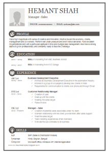 page resume template one page excellent resuem sample for mba sales & marketing ()