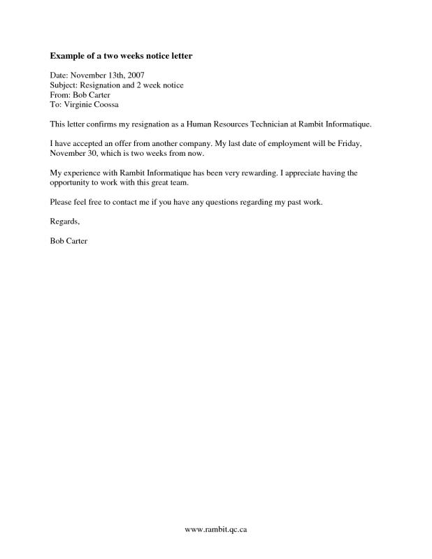 cca letter template - 2 week notice letter template template business