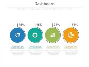 plan templates four circles with percentage icons dashboard chart powerpoint slides slide