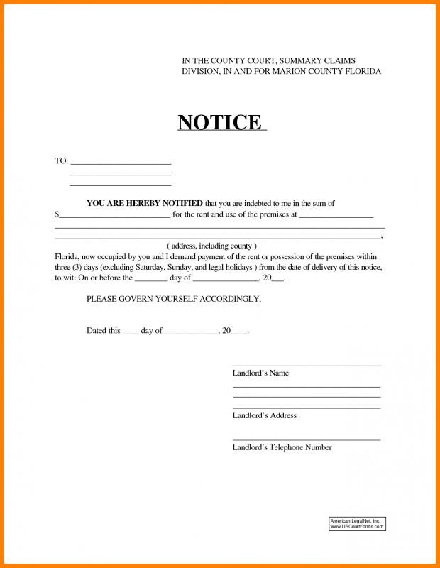 30-day-eviction-notice-form-15-day-notice-to-vacate-florida-16  Day Notice To Vacate Letter Landlord Template on