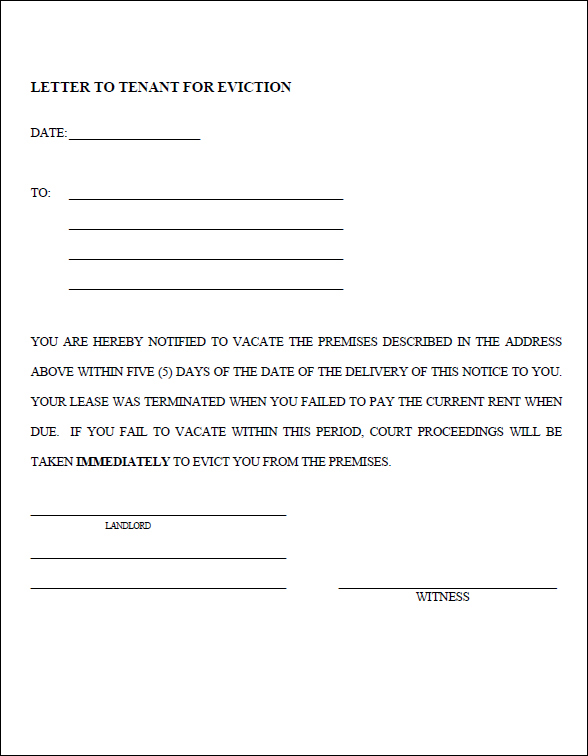 Day Eviction Notice Form  Template Business