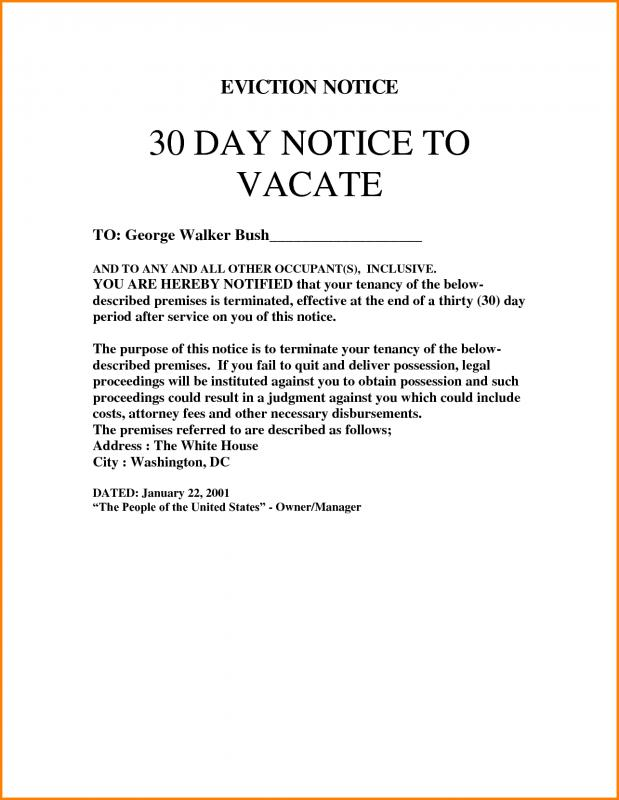 30 Day Eviction Notice Template  Free Printable Eviction Notice Template