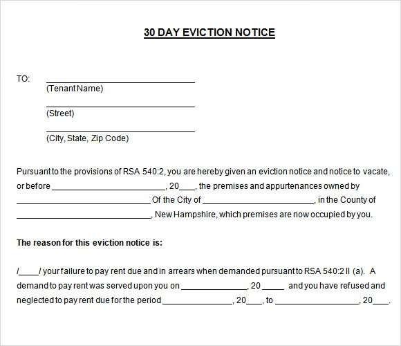 30 Day Eviction Discover Template  Free Printable Eviction Notice Template