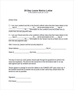 30 day notice 30 day lease notice letter