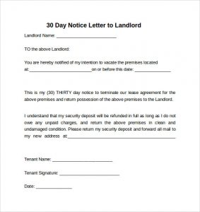 30 day notice 30 day notice letter to landlord
