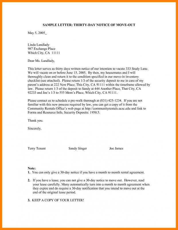 Day Notice Letter To Landlord  Template Business