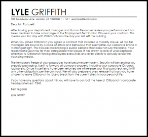 day notice letter to landlord employment contract termination letter