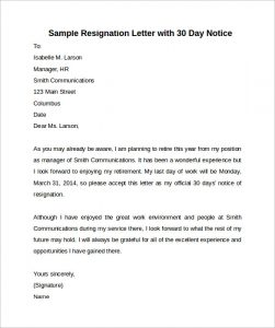 30 day notice sample 30 days notice letter