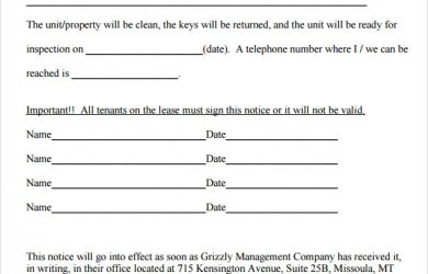 30 day notice tenant 30 day notice template