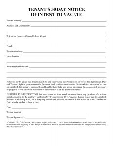 30 day notice tenant 30 day notice template pdf