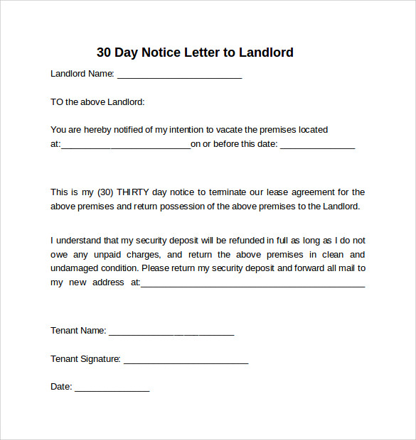 30 day notice to landlord california