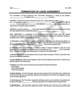 day notice to landlord california template lease termination agreement form
