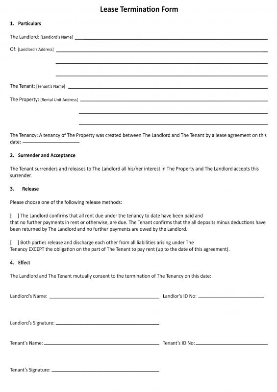 30 day notice to landlord california template