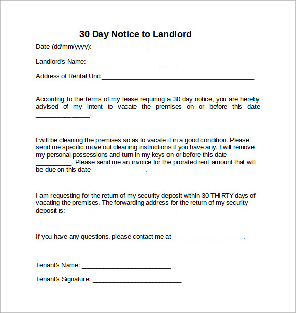 30 day notice to landlord template