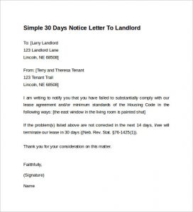 day notice to landlord template simple days notice letter to landlord