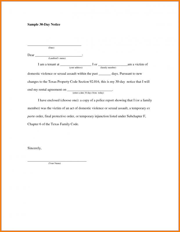 Day Notice Letter To Landlord  Day Notice Landlord Template