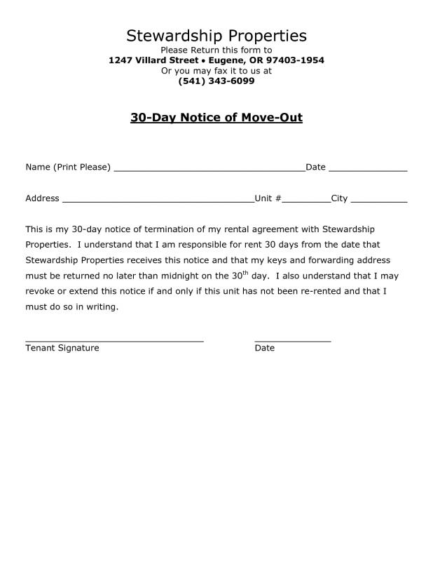 30 day notice to move template business for 30 day move out notice template