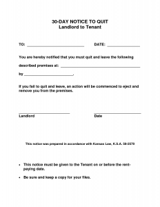 day notice to vacate form printable day notice to landlord