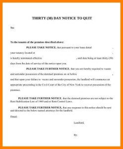 day notice to vacate form tenant day notice day notice letter to ask tenants to quit