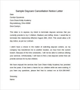 days notice letter sample daycare cancellation days notice letter