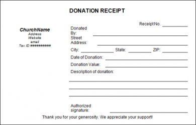 c tax deductible donation letter church donation receipt template