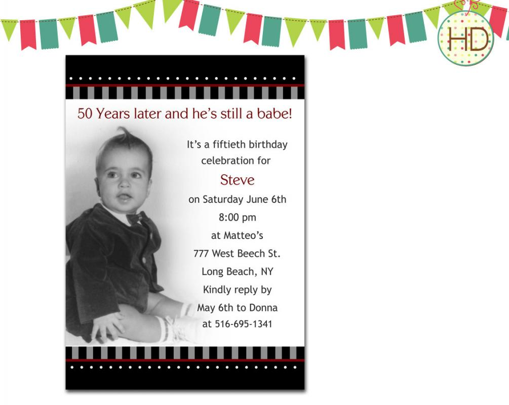 50th Birthday Invites For Him