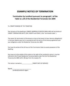 day notice to terminate tenancy letter example notice of termination