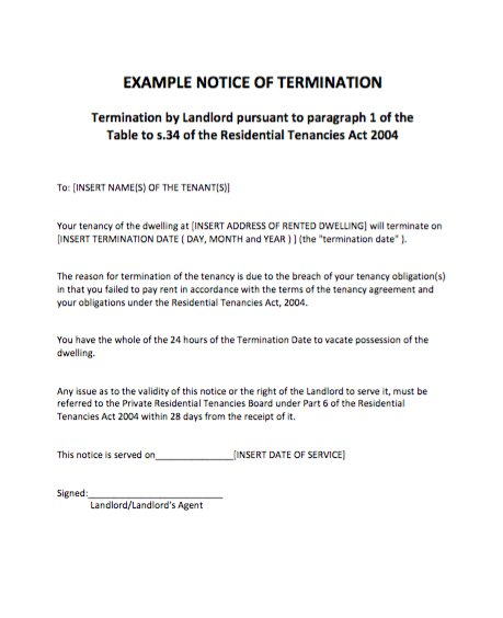 60 Day Notice To Terminate Tenancy Letter Template Business