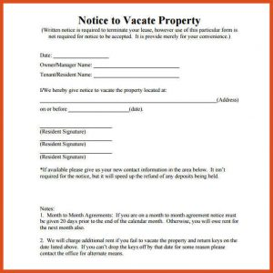 day notice to vacate template notice to vacate template notice to vacate property