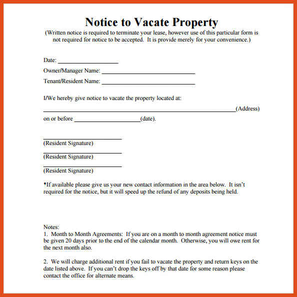 60 day notice to vacate template
