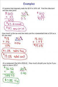 th grade algebra worksheets sales tax, discount, tip