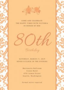 Th Birthday Party Invitations Canva Orange Floral Patterned Invitation Macekxnmova