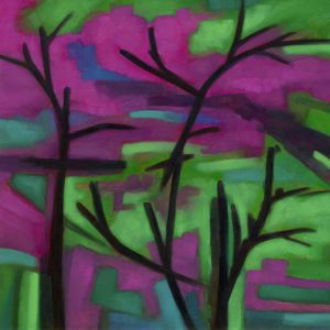 abstract oil painting ajlevin pinkflowertree