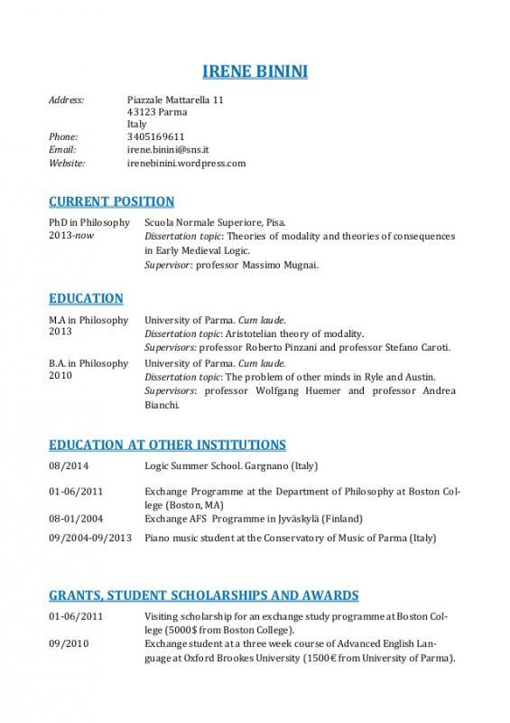 academic curriculum vitae