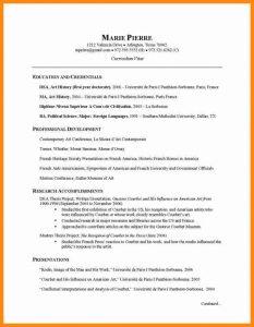 academic curriculum vitae template