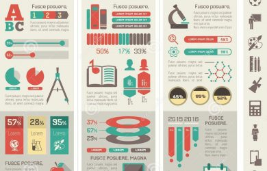 academic posters template education infographics infographic elements plus icon set vector