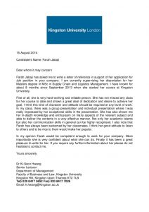academic recommendation letter academic reference letter kingston university
