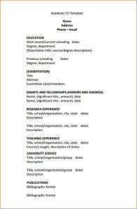 academic resume template academic cv template sample academic cv template