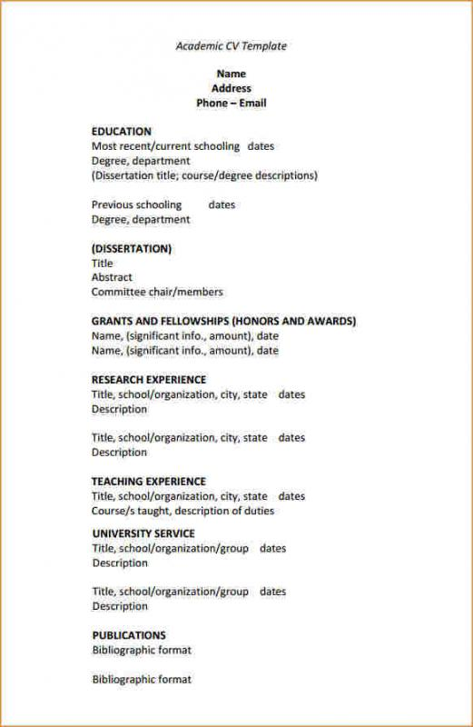 Academic Resume Template  School Resume Template