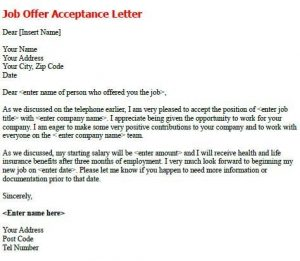 acceptance letter template negotiating job offer sample letter job offer letter sample template